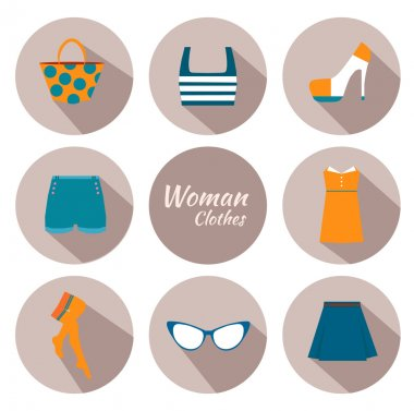 woman clothing icon set