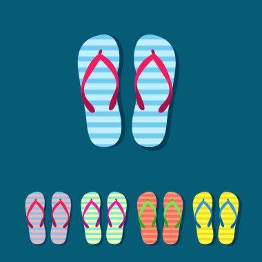 Colorful flip flops set
