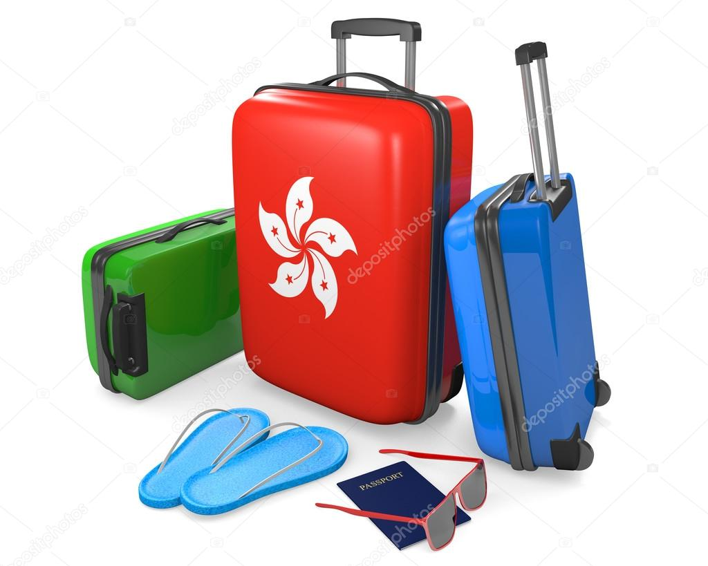 Фотообои Travel luggage items and accessories for a vacation to or from Hong Kong, 3D rendering