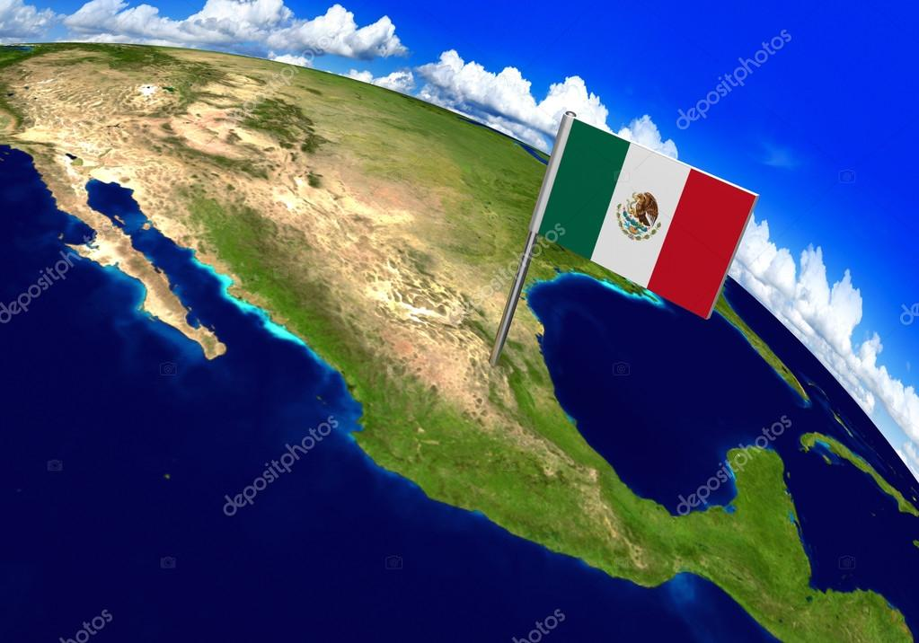 Flag marker over country of mexico on world map 3d rendering fotos 3d world render with the mexican flag over the location of mexico parts of this image furnished by nasa foto de kagenmi gumiabroncs Choice Image