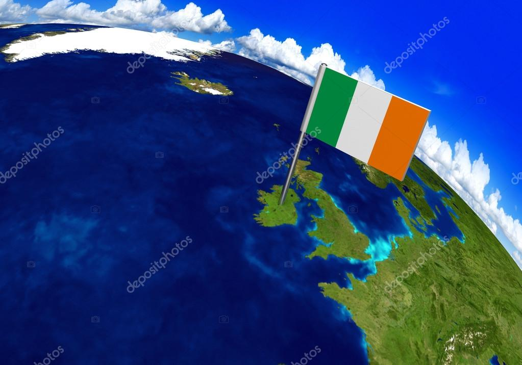 Flag marker over country of Ireland on world map 3D rendering ...