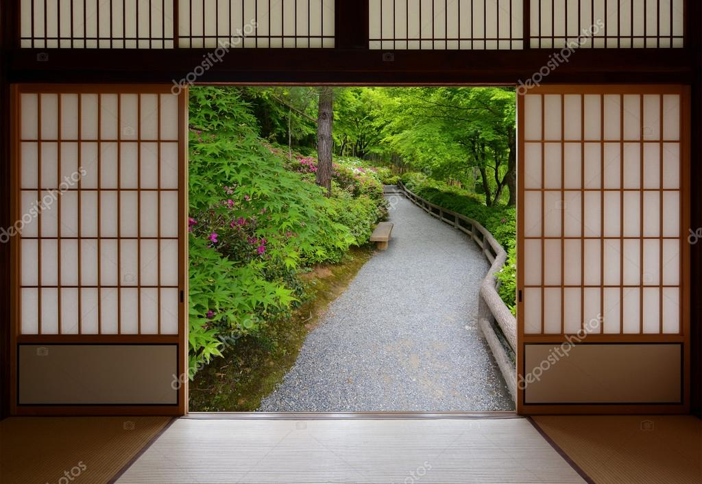 View of a beautiful nature walkway seen through open Japanese style doors. \u2014 Photo by Kagenmi & Japanese sliding wood doors opened to a peaceful green nature path ...