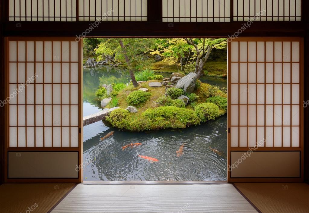 Beautiful ornamental pond full of colorful fish seen through open Japanese sliding doors. \u2014 Photo by Kagenmi & Sliding Japanese doors and fish pond with colorful orange carp ...