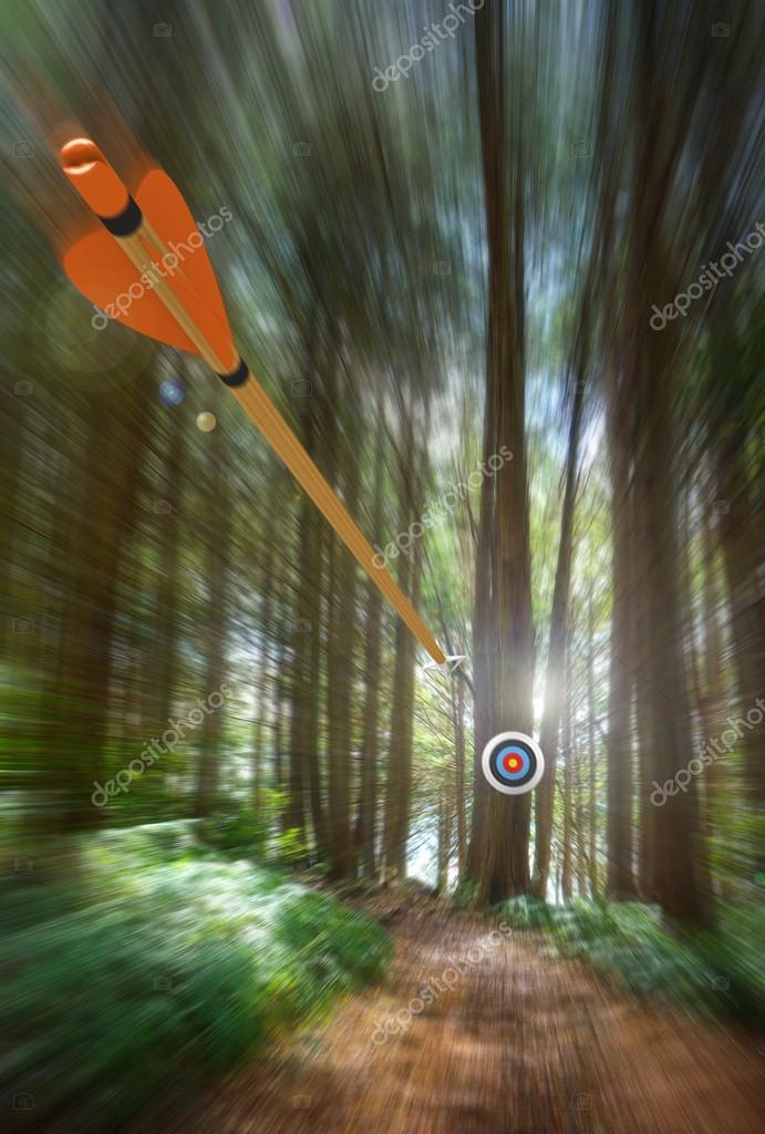 Arrow speeding to archery target with motion blur, part photo, part 3D rendering