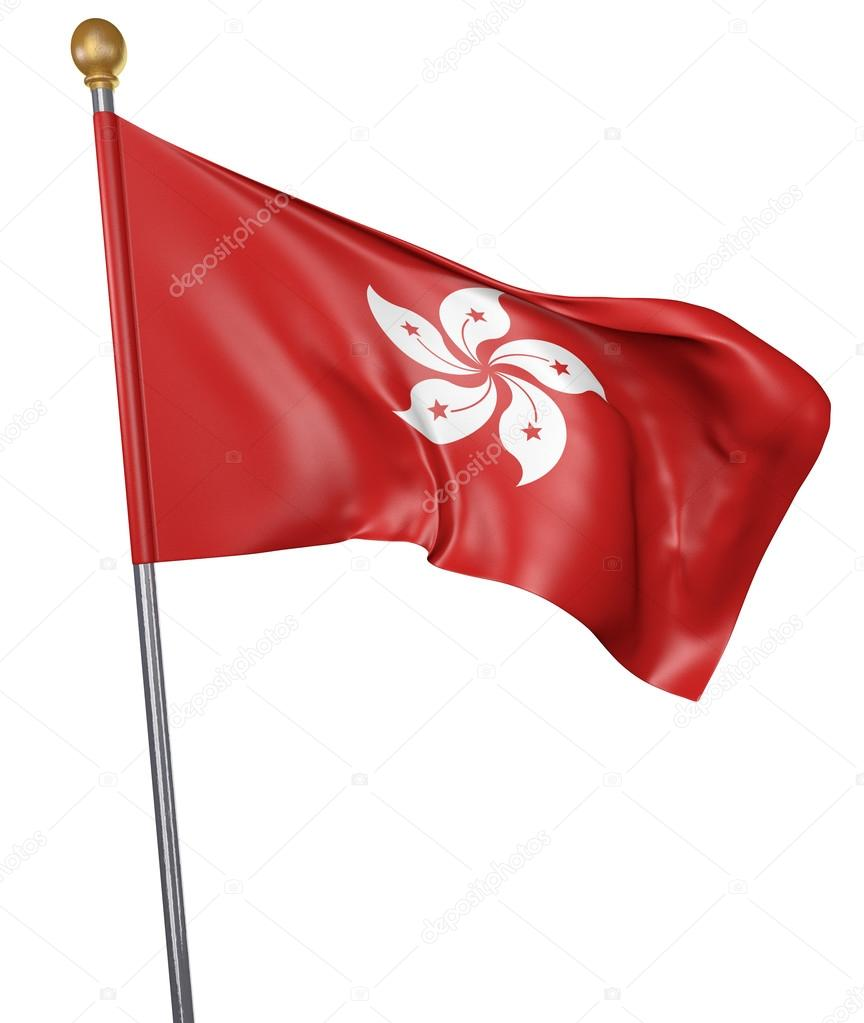 Фотообои National flag for country of Hong Kong isolated on white background, 3D rendering