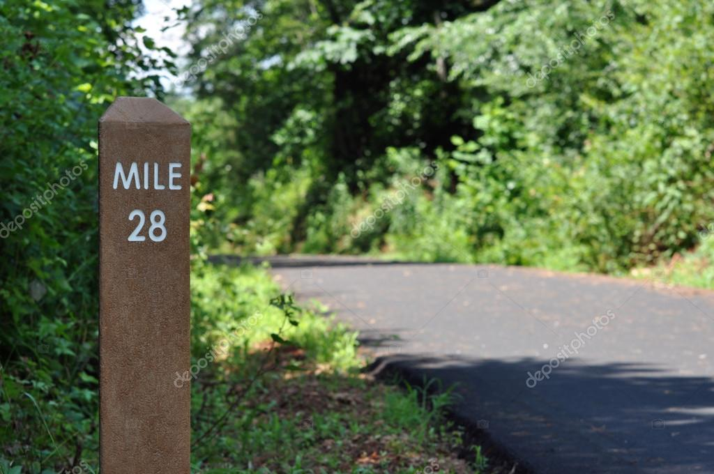 Mile marker along a walking, biking, and jogging path