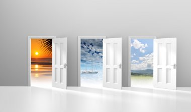 A row of doors leading to different relaxing destinations for travel. stock vector