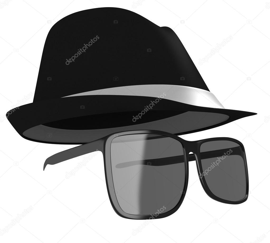 Gafas oscuras y sombrero negro disfraz para un detective o espía ...