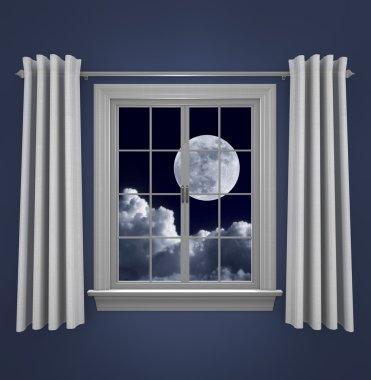 Full moon in night sky shining beautifully through a bedroom window
