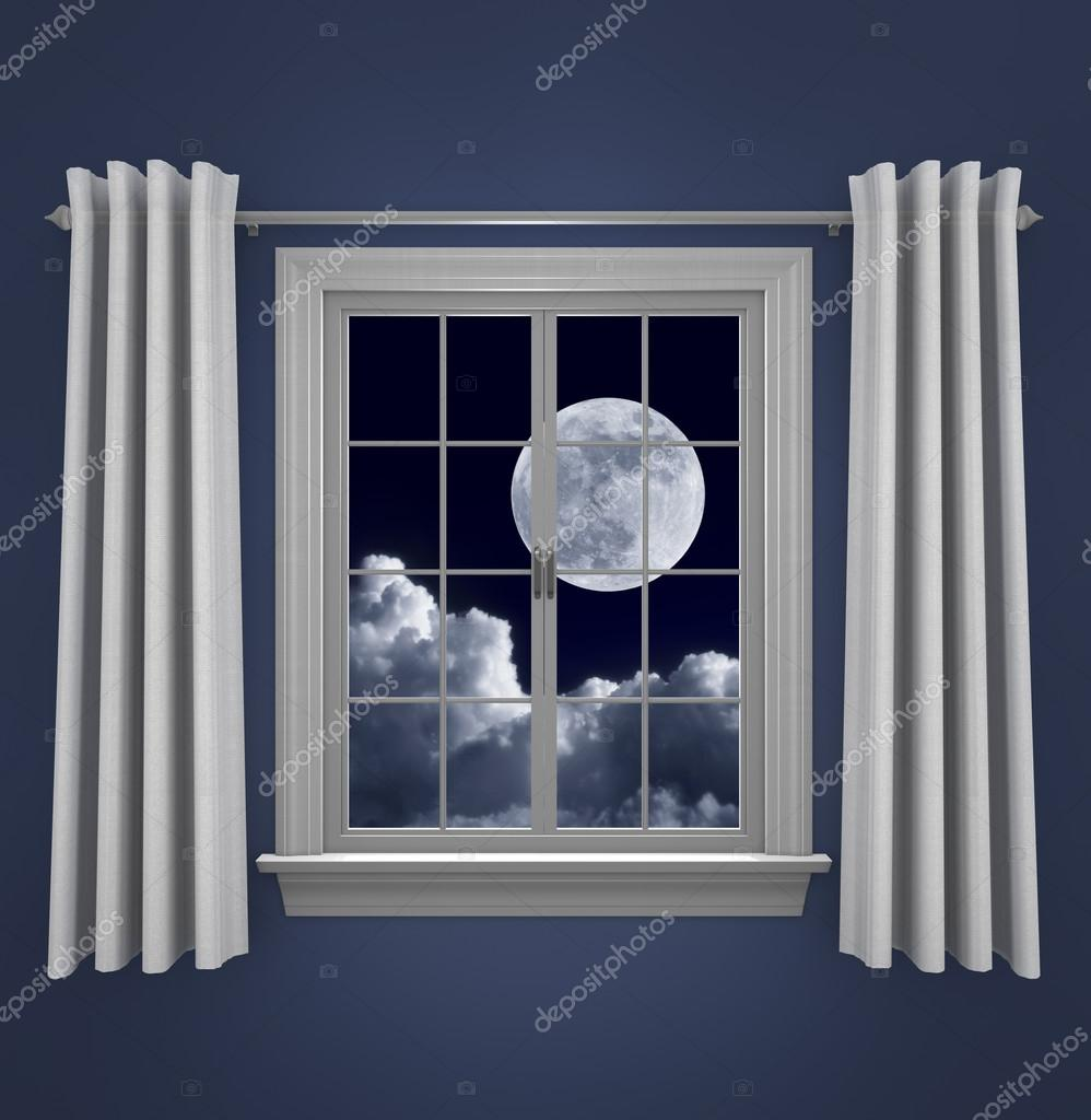 Full moon in night sky shining beautifully through a bedroom window