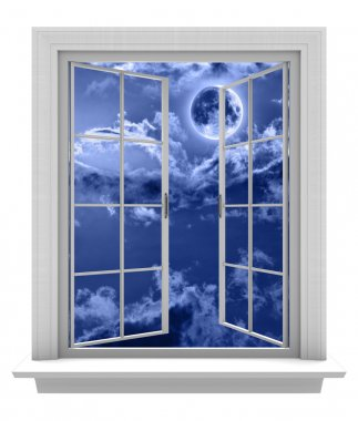Isolated window frame on a white background, opening to a night sky and full moon
