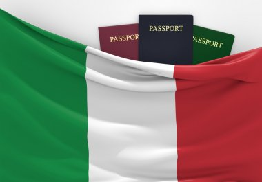 Travel and tourism in Italy, with assorted passports