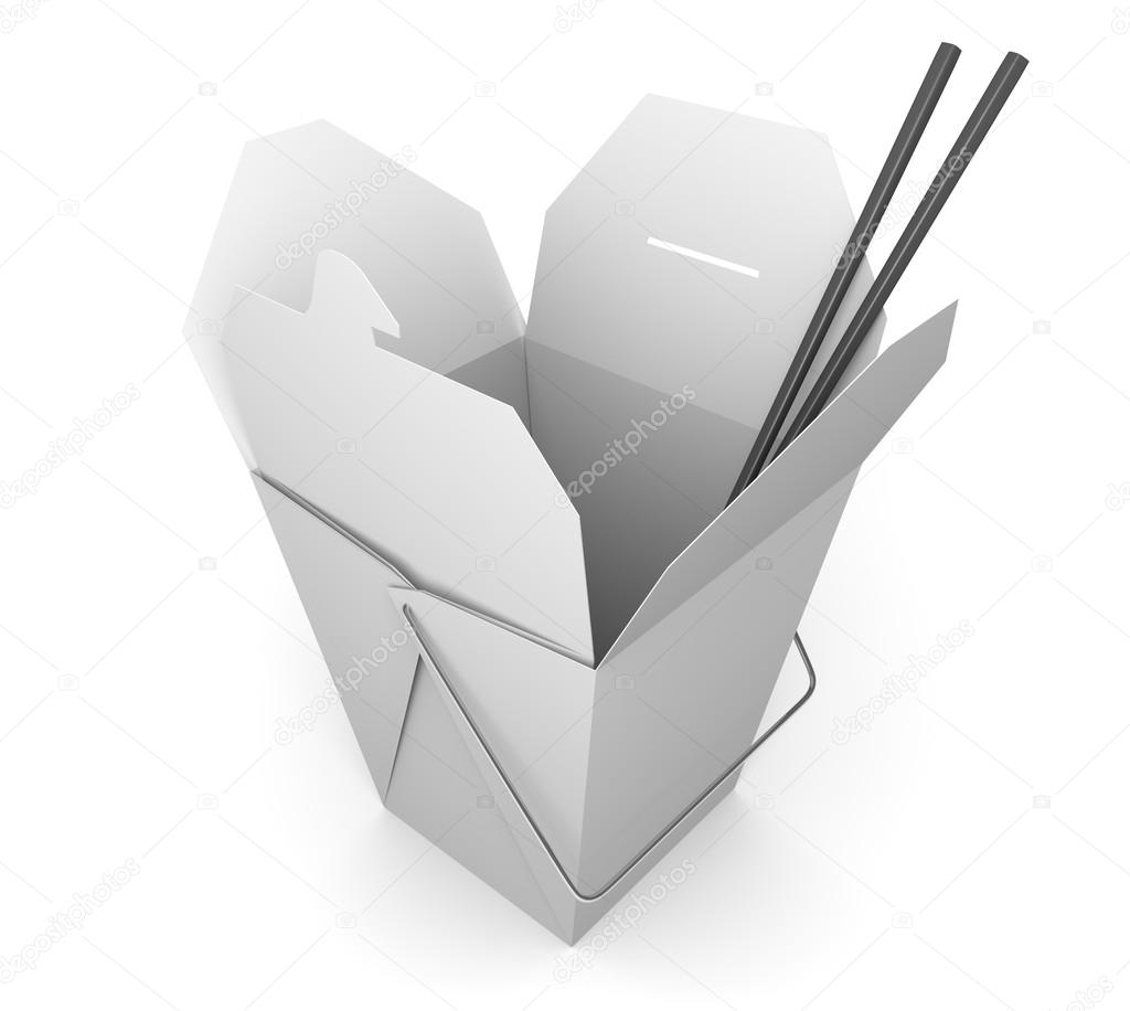 Chinese Takeout Box And Chopsticks For Asian Fast Food Stock Photo