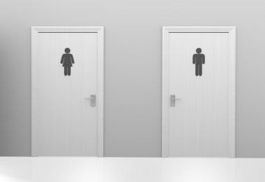 Restroom doors to public toilets marked with icons for men and women