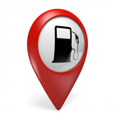 3D red map pointer icon with a fuel pump symbol for gas stations