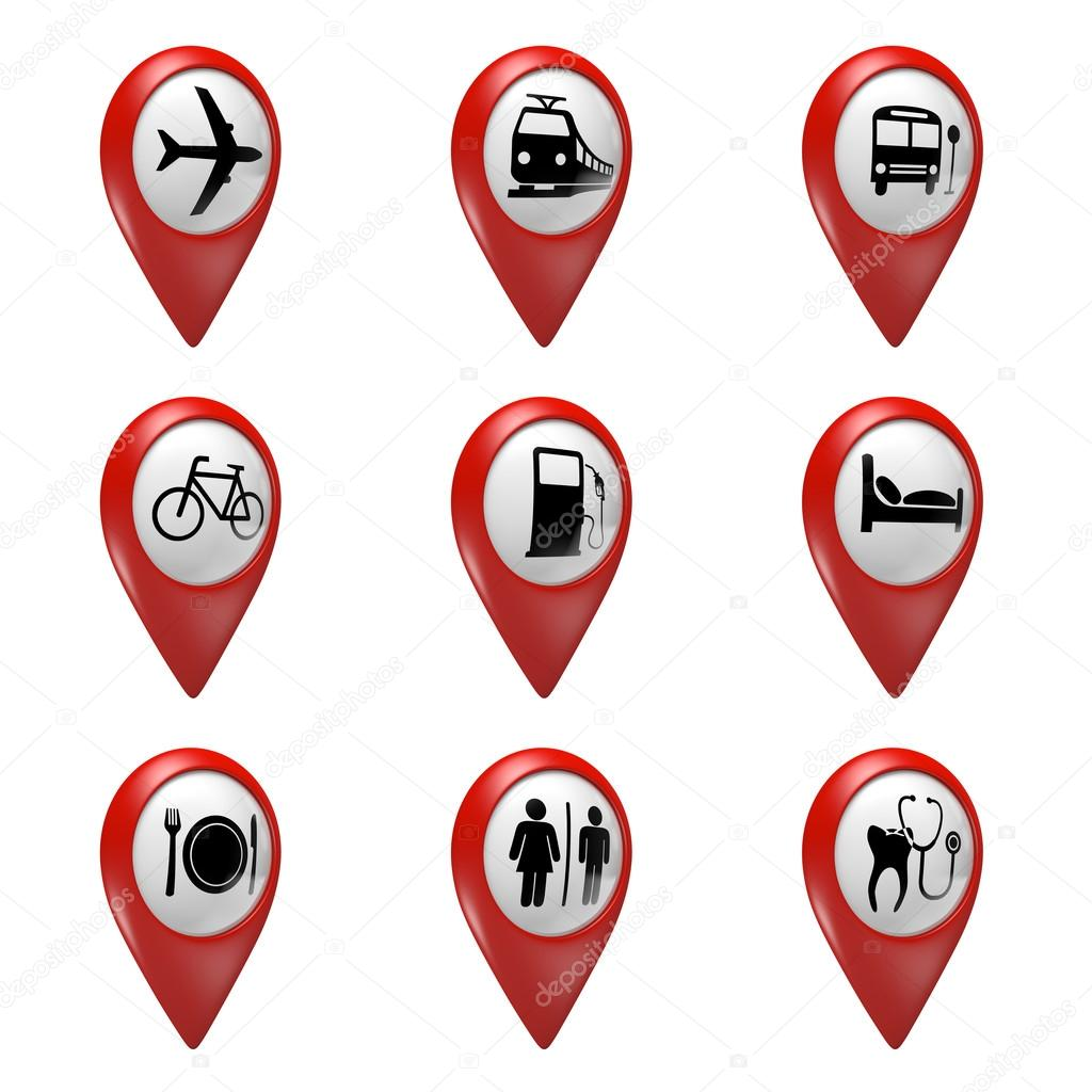 3D red map pointer icons set for transport, hotels, food, and services