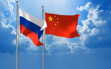 Russia and China flags flying together for diplomatic talks