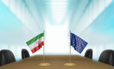 Iran and European Union relations and trade deal talks 3D rendering