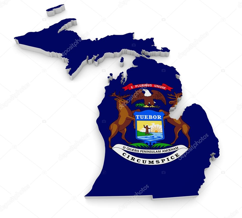 Geographic Border Map And Flag Of Michigan The Great Lakes State - Us state flag map