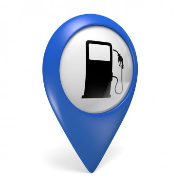 Blue map pointer 3D icon with a fuel pump symbol for gas stations