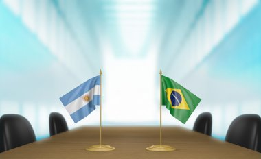 Argentina and Brazil relations and trade deal talks 3D rendering