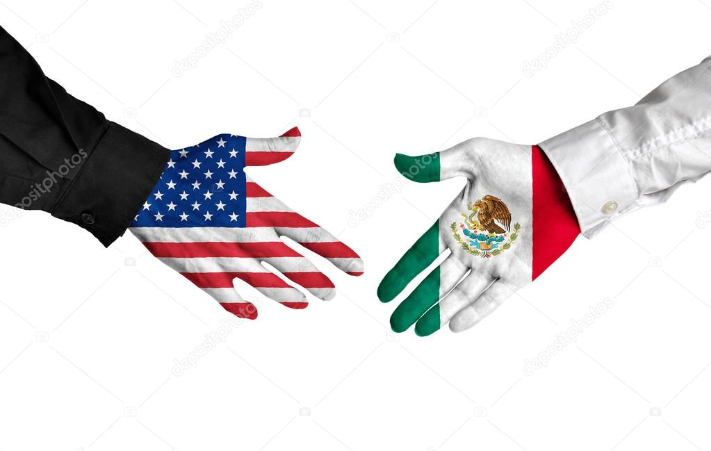 American And Mexican Leaders Shaking Hands On A Deal