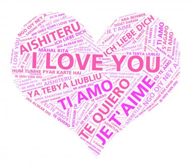 Word cloud art of the words I love you in multiple languages forming a pink heart. stock vector