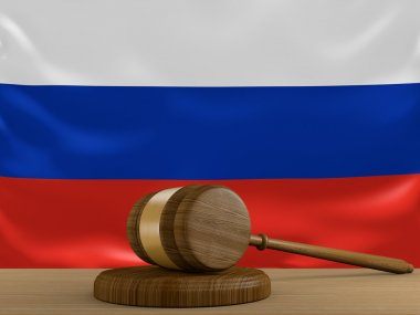 Russia law and justice system with national flag