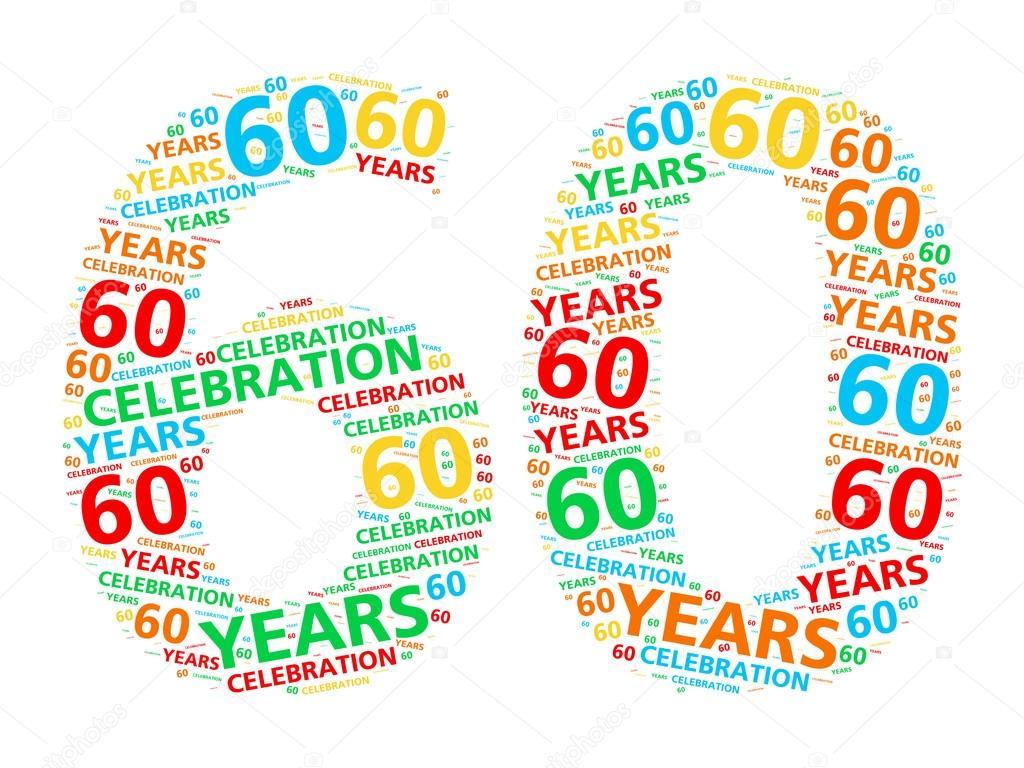 Kleurrijke Woord Wolk Voor Het Vieren Van Een 60 Jaar Verjaardag Of
