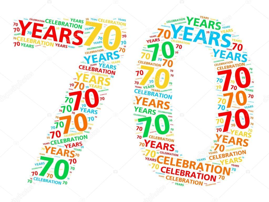 oslava 70 narozenin Barevné slovo mrak pro oslavu 70 rok narozeniny nebo výročí  oslava 70 narozenin
