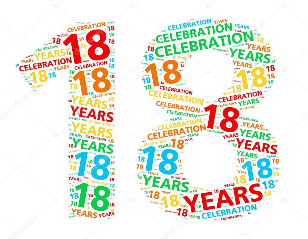 födelsedag 18 år Färgglada word cloud för att fira en 18 års födelsedag eller en  födelsedag 18 år