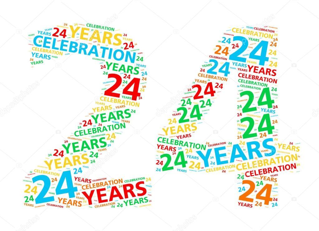 verjaardag 24 jaar Kleurrijke woord wolk voor het vieren van een 24 jaar verjaardag  verjaardag 24 jaar