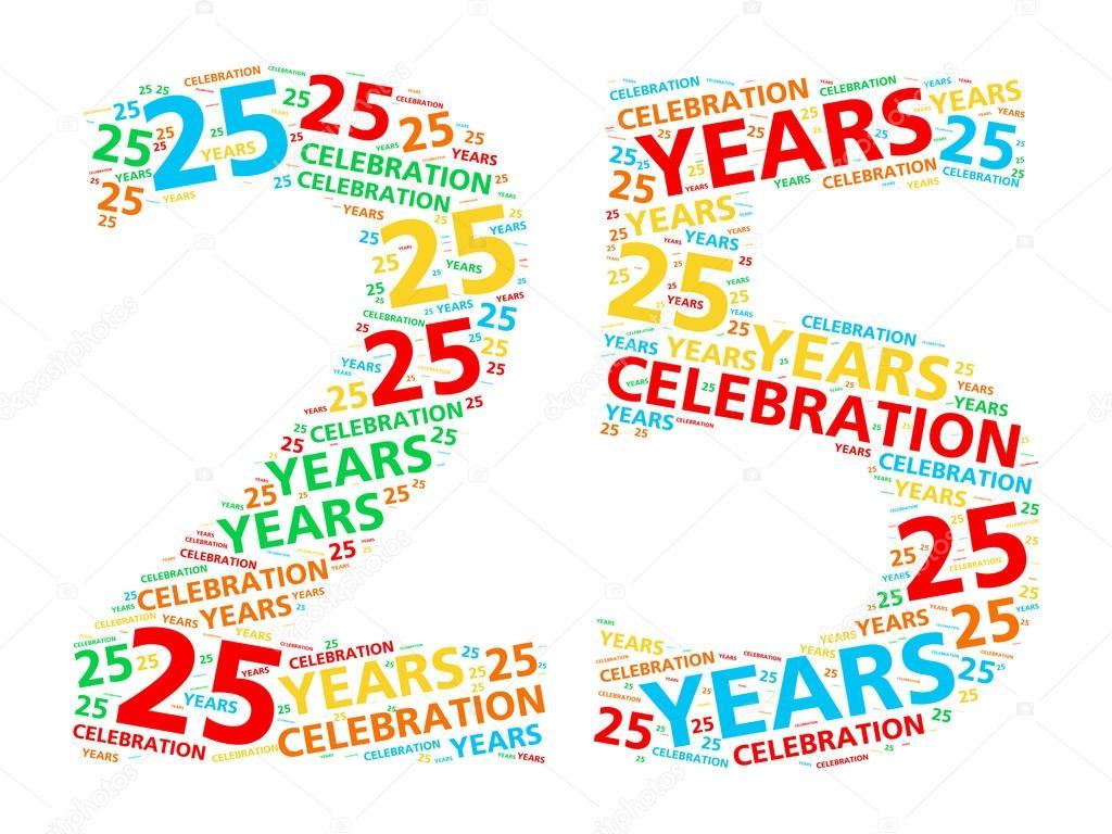 Nube De Palabra Colorido Para Celebrar Un Cumpleanos De 25 Anos O