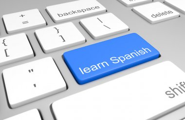 Learn Spanish key on a computer keyboard for online classes on speaking, reading, and writing the language