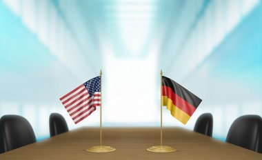 United States and Germany relations and trade deal talks 3D rendering