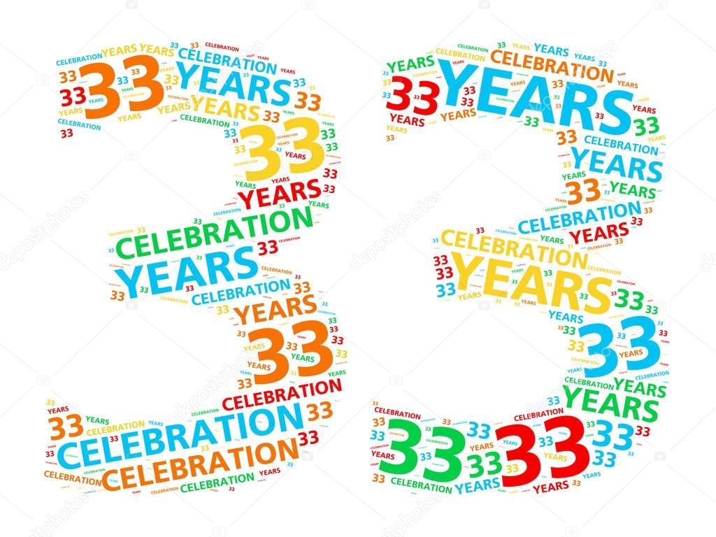 Kleurrijke Woord Wolk Voor Het Vieren Van Een 33 Jaar Verjaardag Of