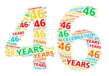 Colorful word cloud for celebrating a 46 year birthday or anniversary