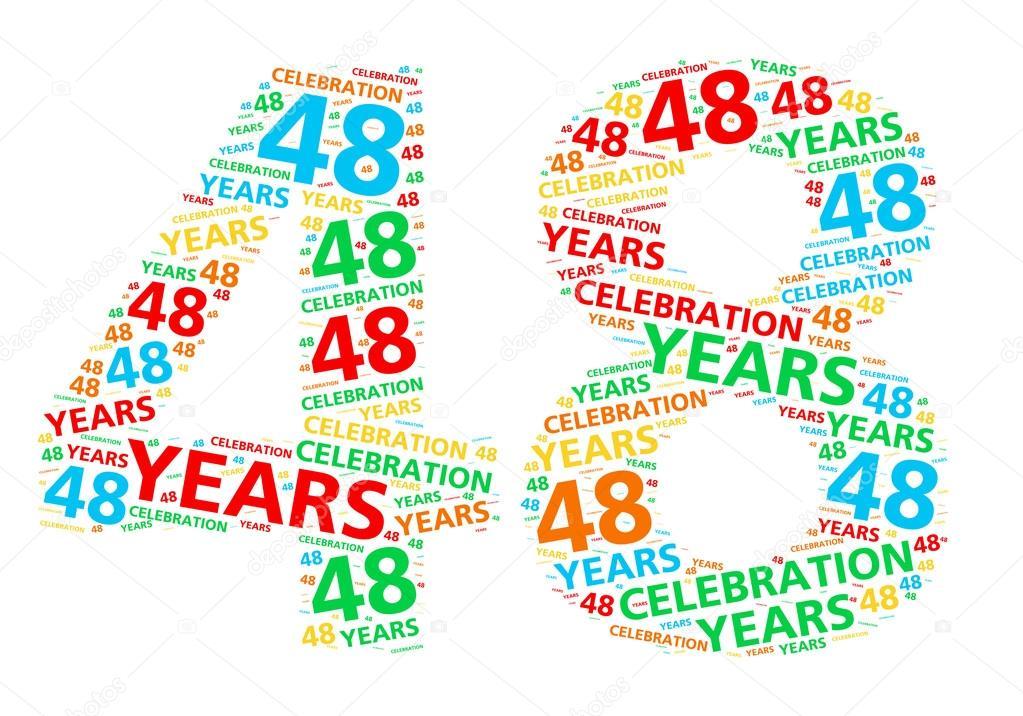 Kleurrijke Woord Wolk Voor Het Vieren Van Een 48 Jaar Verjaardag Of