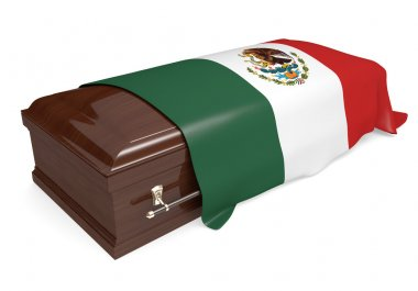 3D rendering of a burial casket draped with the national flag of Mexico. stock vector