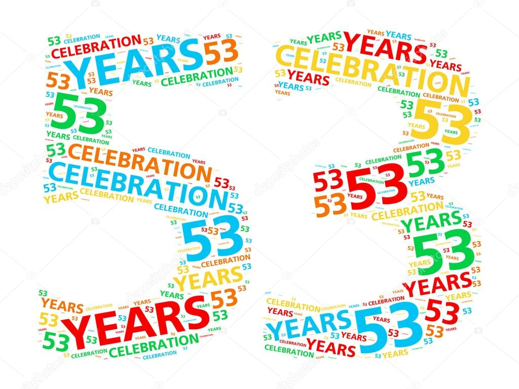 A word cloud in the shape of the number 53 for celebrating a fifty-three  year achievement. — Photo by Kagenmi