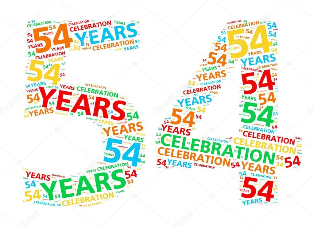 54 jaar Kleurrijke woord wolk voor het vieren van een 54 jaar verjaardag  54 jaar