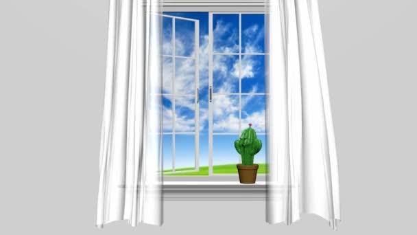 Domů interiéru a otevřené okno s modrou letní oblohu a šťastné kaktus muž, 3d animace
