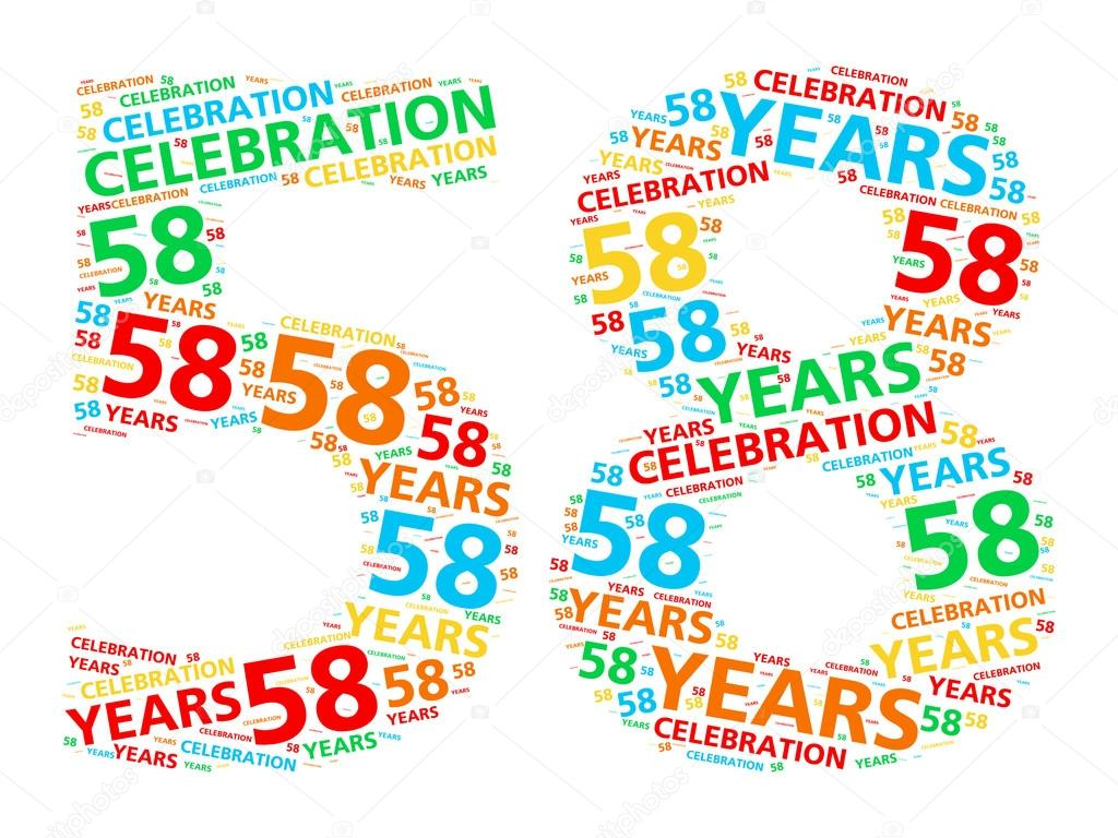 A word cloud in the shape of the number 58 for celebrating a fifty-eight  year achievement. — Photo by Kagenmi