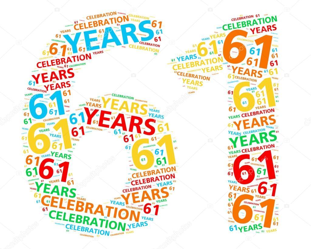 61 jaar Kleurrijke word cloud voor het vieren van een 61 jaar verjaardag  61 jaar