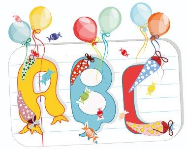ABC Buchstaben, Schulpapier, Bonbons, Luftballons