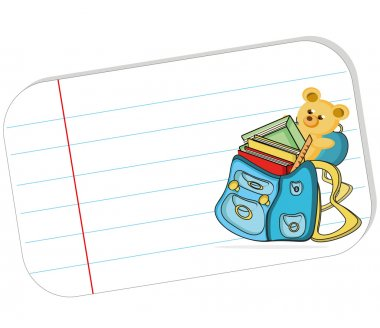 white paper with schoolbag, teddy, cartoon