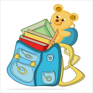 Schoolbag wth Teddy, cartoon