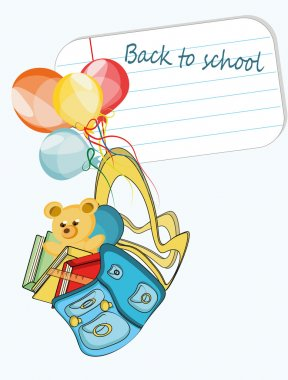 White paper banner, text back to school, schoolbag, teddy ,