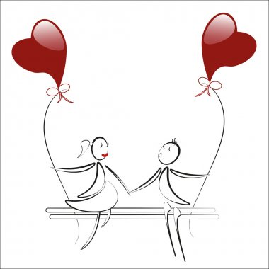 boy and girl sitting on the bench with red heart baloons