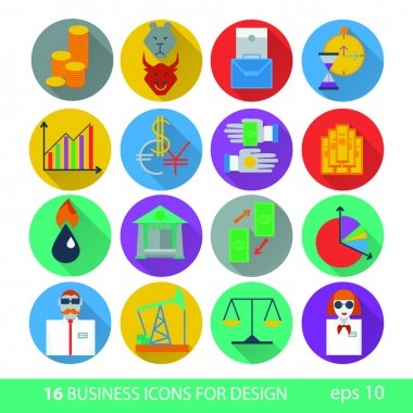 Set of sixteen icons business management and human resources. Il